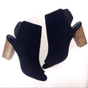 Sole society black slingback open toe suede heel